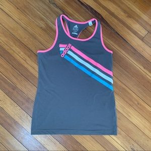 Adidas grey/pink logo tank. Fitted. Small